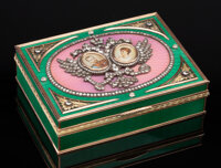 A 14K Vari-Color Gold, Guilloché Enamel, and Diamond-Mounted Portrait Box in the Manner of Fabergé, late 2...