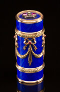 Silver & Vertu, A 14K Vari-Color Gold, Guilloché Enamel, Diamond, and Cabochon-Mounted Cylindrical Box in the Manner of Fabergé, late 20th c...
