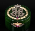 Silver & Vertu, A Spinach Jade, 14K Vari-Color Gold, Diamond, and Guilloché Enamel Pill Box in the Manner of Fabergé, late 20th century. 1 x...