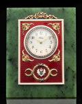 Silver & Vertu, A Spinach Jade, Diamond, and Guilloché Enamel Easel Clock in the Manner of Fabergé, late 20th century . 5-1/8 x 4 inches (13...