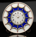Silver & Vertu, A 14K Vari-Color Gold, Guilloché Enamel, and Diamond-Mounted Clock in the Manner of Fabergé, late 20th century . 4-1/8 inche...