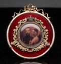 Silver & Vertu, A 14K Vari-Color Gold and Guilloché Enamel Easel Frame in the Manner of Fabergé, late 20th century . 3-1/2 x 3 inches (8.9 x...