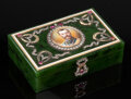 Silver & Vertu, A Spinach Jade and Diamond Portrait Box in the Manner of Fabergé, late 20th century . 1-1/4 x 3-3/4 x 2-1/2 inches (3.2 x 9....