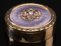 Silver & Vertu, A 14K Vari-Color Gold, Guilloché Enamel, and Diamond-Mounted Pill Box in the Manner of Fabergé, late 20th century. 0-3/8 x 1...