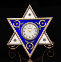 Silver & Vertu, A 14K Vari-Color Gold, Guilloché Enamel, and Diamond-Mounted Clock in the Manner of Fabergé, late 20th century. 5-1/8 x 4-3/...