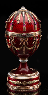 An 18K Vari-Color Gold, Guilloché Enamel, Diamond, and Cabochon-Mounted Standing Egg with Bouquet Surprise in the...