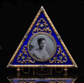 Silver & Vertu, A 14K Vari-Color Gold, Guilloché Enamel, and Diamond-Mounted Frame in the Manner of Fabergé, late 20th century. 4-1/8 x 4-3/...