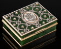 Silver & Vertu, A Spinach Jade, 14K Vari-Color Gold, Diamond Lattice, and Guilloché Enamel Box in the Manner of Fabergé, late 20th century. ...