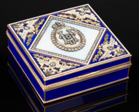 A 14K Vari-Color Gold, Guilloché Enamel, and Diamond-Mounted Double-Eagle Box in the Manner of Fabergé, la...