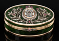 Silver & Vertu, A Spinach Jade, 14K Vari-Color Gold, Diamond, and Guilloché Enamel Box in the Manner of Fabergé, late 20th century. 1-1/8 x ...
