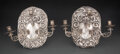 Silver & Vertu, A Pair of Spanish Colonial Silver Three-Light Sconces, probably Mexico, circa 1900. 10-3/4 x 7-1/2 inches (27.3 x 19.1 cm) (... (Total: 2 )
