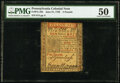 Colonial Notes:Pennsylvania, Pennsylvania June 21, 1759 £5 PMG About Uncirculated 50.. ...
