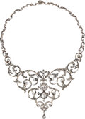 Estate Jewelry:Necklaces, Antique Diamond, Silver-Topped Gold Necklace, circa 1890. ...