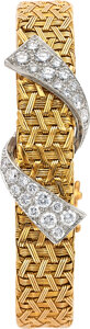 Estate Jewelry:Watches, Verdura Lady's Diamond, Platinum, Gold Covered Dial Watch, French. ...