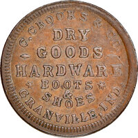 1863 C. Crooks & Co., Dry Goods, Civil War Store Card, Granville, Indiana, Fuld-355A-1a, R.6, MS62 Brown NGC. Ex: Do...