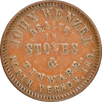 1863 John Wentzel, Stoves, Civil War Store Card, North Vernon, Indiana, Fuld-715A-1a, R.7, VF25 NGC. Ex: Donald G. Partr...