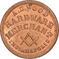 Civil War Merchants, 1863 A.D. Wood, Hardware, Civil War Store Card, Indianapolis, Indiana, Fuld-460Z-1a, R.7, MS65 Red and Brown NGC.. Ex: Don...