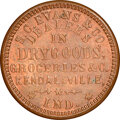 Civil War Merchants, 1863 S.C. Evans & Co., Dry Goods, Civil War Store Card, Kendallville, Indiana, Fuld-500F-2a, R.7, MS65 Red and Brown NGC.. ...