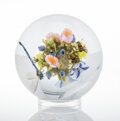 Glass, Paul Stankard (American, b. 1943). Morning Glory Orb with Damselfly and Honeybees. Glass. 5 inches (12.7 cm). Cane inscr...