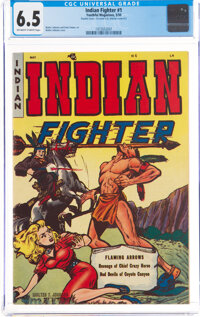 Indian Fighter #1 Double Cover (Youthful Magazines, 1950) CGC FN+ 6.5 Off-white to white pages