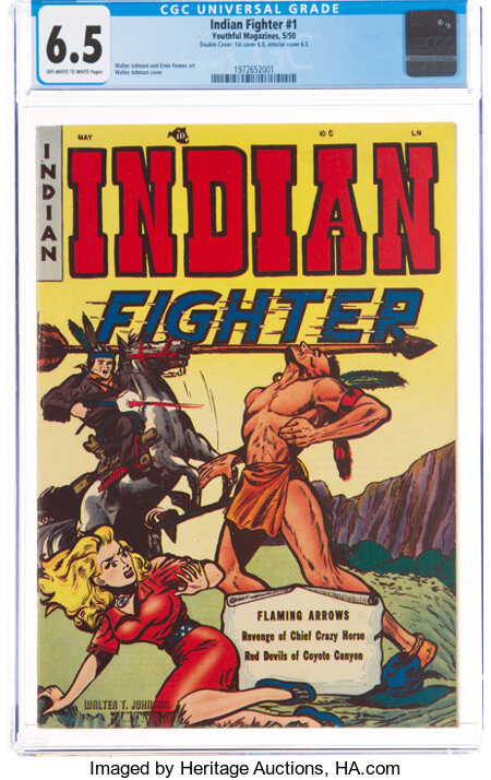 Indian Fighter #1 Double Cover (Youthful Magazines, 1950) CGC FN+ 6.5 Off-white to white pages....