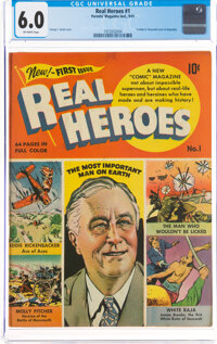 Real Heroes Comics #1 (Parents' Magazine Institute, 1941) CGC FN 6.0 Off-white pages