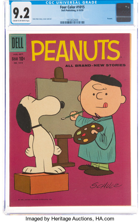 Four Color #1015 Peanuts (Dell, 1959) CGC NM- 9.2 Cream to off-white pages....