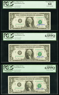 W.M. Blumenthal Courtesy Autographed Fr. 1909-B $1 1977 Federal Reserve Notes. Three Consecutive Examples. PCGS Very Cho...