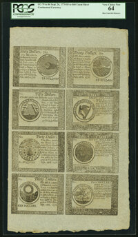 Continental Currency September 26, 1778 $5-$7-$8-$20-$30-$40-$50-$60 Blue Counterfeit Detector Uncut Half Sheet PCGS Ver...