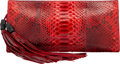 """Luxury Accessories:Bags, Gucci Red Python Clutch. Condition: 4. 13"""" Width x 6"""" Height x 1.5"""" Depth. ..."""