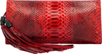"""Gucci Red Python Clutch Condition: 4 13"""" Width x 6"""" Height x 1.5"""" Depth"""