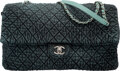 """Luxury Accessories:Bags, Chanel Distressed Denim XXL Flap Bag with Silver Hardware. Condition: 1. 16"""" Width x 10"""" Height x 5"""" Depth. ..."""