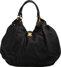 """Luxury Accessories:Bags, Louis Vuitton Black Mahina Leather Hobo Bag. Condition: 2. 16"""" Width x 11"""" Height x 7"""" Depth. ..."""