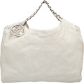 """Luxury Accessories:Bags, Chanel Cream Caviar Leather Hobo Bag with Silver Hardware. Condition: 3. 17"""" Width x 10"""" Height x 8"""" Depth. ..."""