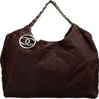 """Chanel Brown Caviar Leather Hobo Bag with Silver Hardware Condition: 4 17"""" Width x 10"""" Height x 8"""