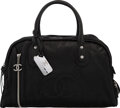 """Luxury Accessories:Bags, Chanel Black Calfskin Leather Bowler Bag with Silver Hardware. Condition: 4. 18"""" Width x 10.5"""" Height x 9"""" Depth. ..."""