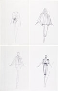 """Luxury Accessories:Home, Halston Set of Four Original Ink Sketches . Condition: 1. 8"""" Width x 12"""" Height. ... (Total: 4 )"""