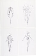 """Luxury Accessories:Home, Halston Set of Four Original Ink Sketches. Condition: 1. 8"""" Width x 12"""" Height. ... (Total: 4 )"""