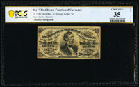 Courtesy Autograph Fr. 1292 25¢ Third Issue PCGS Banknote Very Fine 35 Details