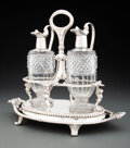 Silver & Vertu, A Paul Storr Regency Silver and Cut Glass Cruet Stand, London, 1810. Marks to each: (lion passant), (crowned leopard's head)... (Total: 3 )