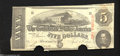 Confederate Notes:1863 Issues, T60 $5 1863. The edges are cut a little uneven on this cut-...
