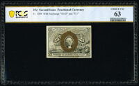 Fr. 1289 25¢ Second Issue PCGS Banknote Choice Uncirculated 63