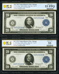 Large Size:Federal Reserve Notes, Changeover Pair Fr. 991a/991b $20 1914 Federal Reserve Notes PCGS Banknote About Unc 53 PPQ; About Unc 53.. ... (Total: 2 notes)