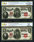 """Large Size:Legal Tender Notes, Changeover Pair Fr. 91/92 $5 1907 """"PCBLIC"""" Engraving Error Legal Tenders PCGS Banknote Choice Unc 63 PPQ; Choice Unc 63.. ... (Total: 2 notes)"""