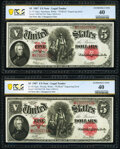 """Large Size:Legal Tender Notes, Reverse Changeover Pair Fr. 92/91 $5 1907 """"PCBLIC"""" Engraving Error Legal Tenders PCGS Banknote Extremely Fine 40.. ... (Total: 2 notes)"""