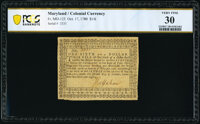 Maryland October 17, 1780 $1/6 PCGS Banknote Very Fine 30