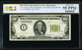 Small Size:Federal Reserve Notes, Fr. 2152-I* $100 1934 Light Green Seal Federal Reserve Star Note. PCGS Banknote About Unc 55 PPQ.. ...