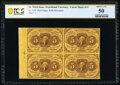Fractional Currency:First Issue, Fr. 1230 5¢ First Issue Block of Four PCGS Banknote About Unc 50.. ...