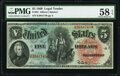 Large Size:Legal Tender Notes, Fr. 64 $5 1869 Legal Tender PMG Choice About Unc 58 EPQ.. ...