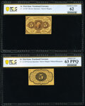 Fractional Currency:First Issue, Fr. 1231SP 5¢ First Issue Narrow Margin Pair PCGS Banknote Uncirculated 62 and Choice Uncirculated 63 PPQ.. ... (Total: 2 notes)